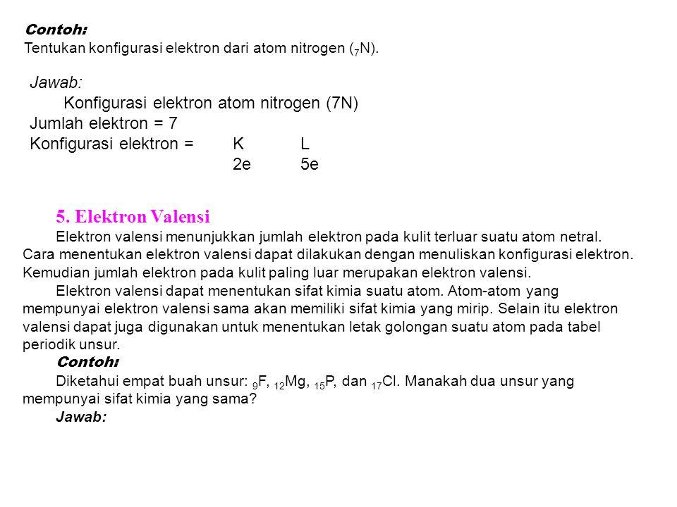 5. Elektron Valensi Jawab: Konfigurasi elektron atom nitrogen (7N)
