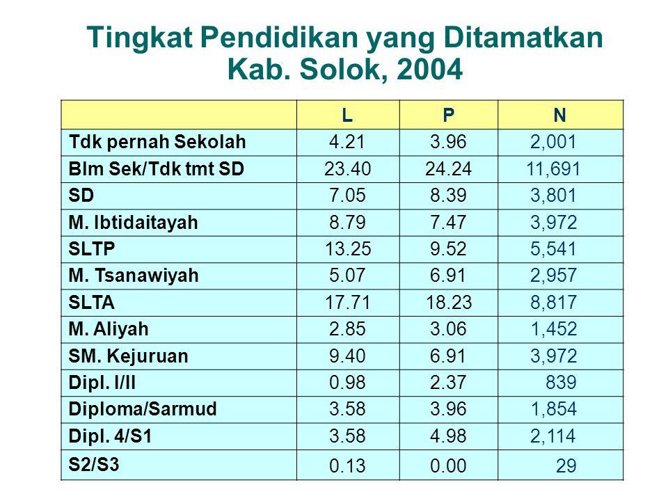 Tingkat Pendidikan yang Ditamatkan Kab. Solok, 2004