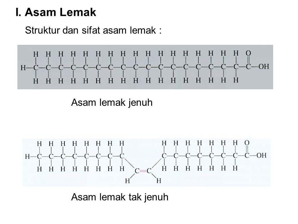I. Asam Lemak Struktur dan sifat asam lemak : Asam lemak jenuh
