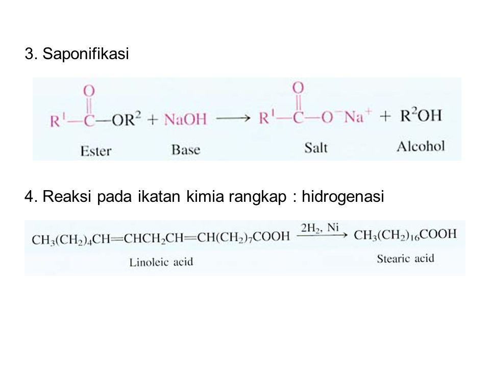 3. Saponifikasi 4. Reaksi pada ikatan kimia rangkap : hidrogenasi