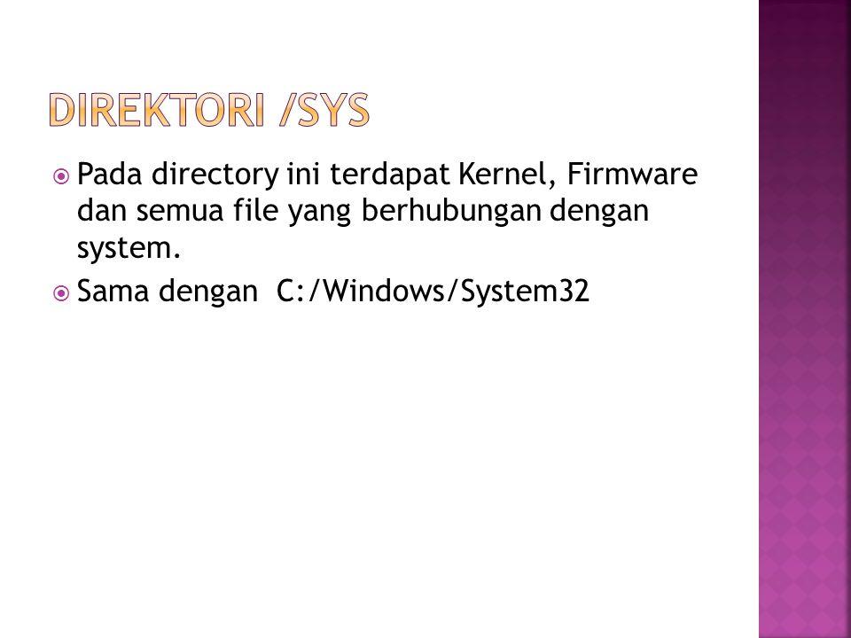 Direktori /sys Pada directory ini terdapat Kernel, Firmware dan semua file yang berhubungan dengan system.