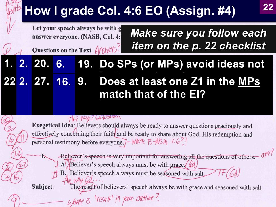 How I grade Col. 4:6 EO (Assign. #4)