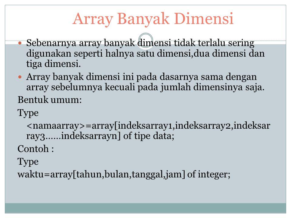 Array Banyak Dimensi Sebenarnya array banyak dimensi tidak terlalu sering digunakan seperti halnya satu dimensi,dua dimensi dan tiga dimensi.