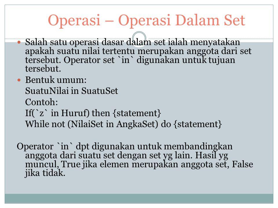 Operasi – Operasi Dalam Set