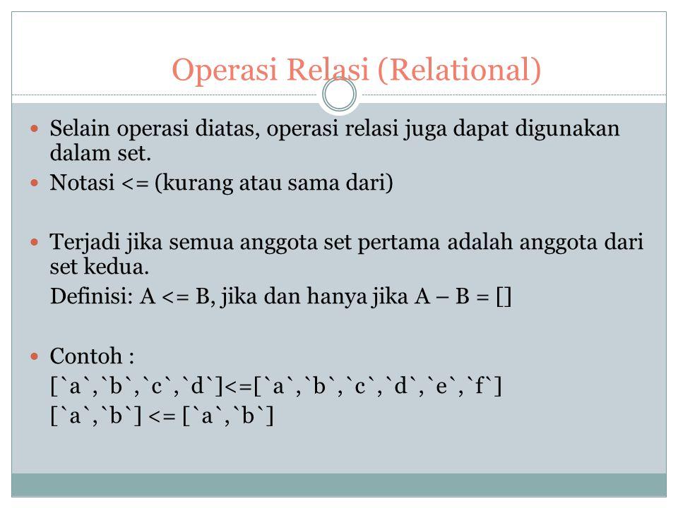 Operasi Relasi (Relational)