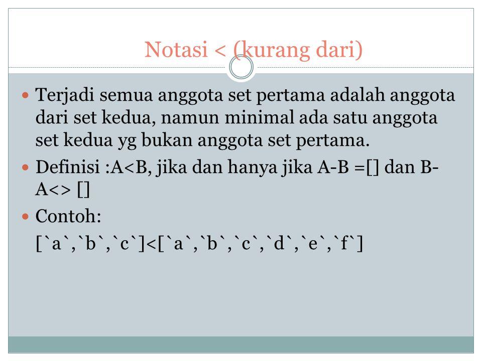 Notasi < (kurang dari)