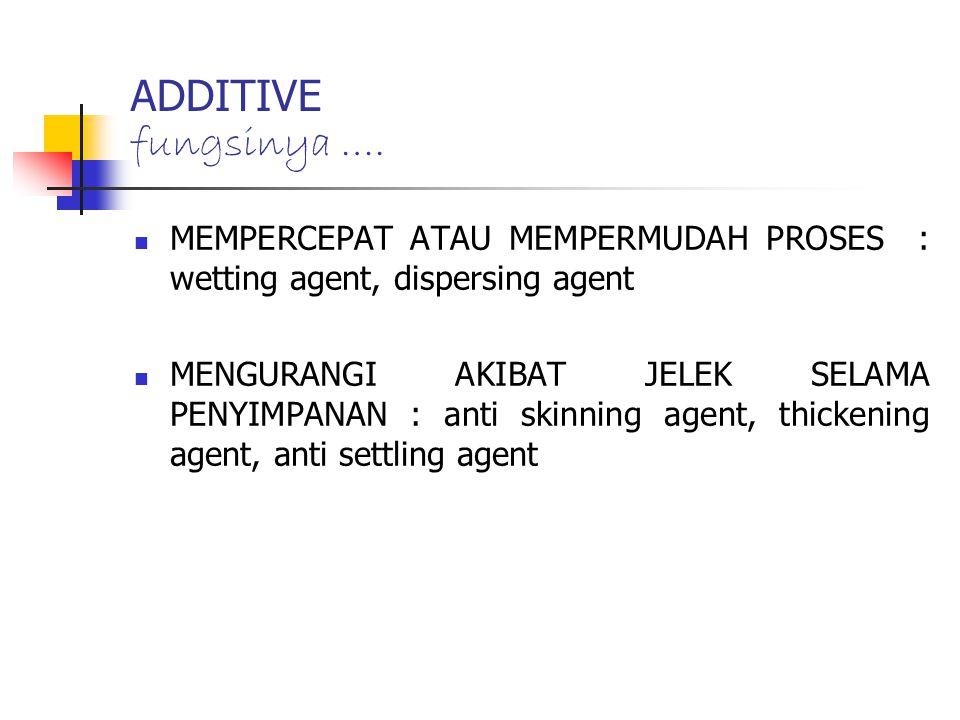 ADDITIVE fungsinya …. MEMPERCEPAT ATAU MEMPERMUDAH PROSES : wetting agent, dispersing agent.