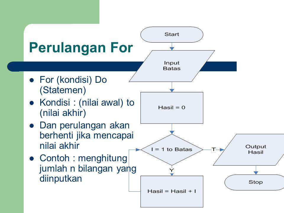 Perulangan For For (kondisi) Do (Statemen)