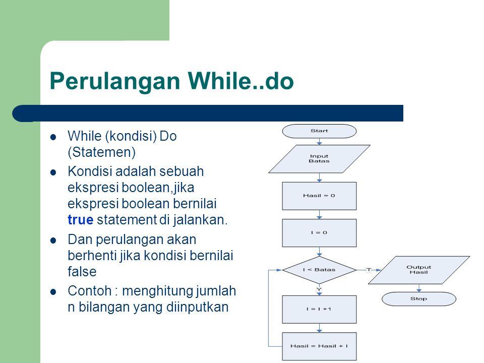 Perulangan While..do While (kondisi) Do (Statemen)