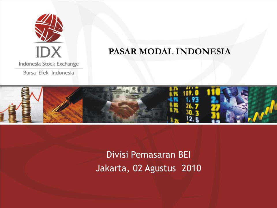 PASAR MODAL INDONESIA Divisi Pemasaran BEI Jakarta, 02 Agustus 2010 1