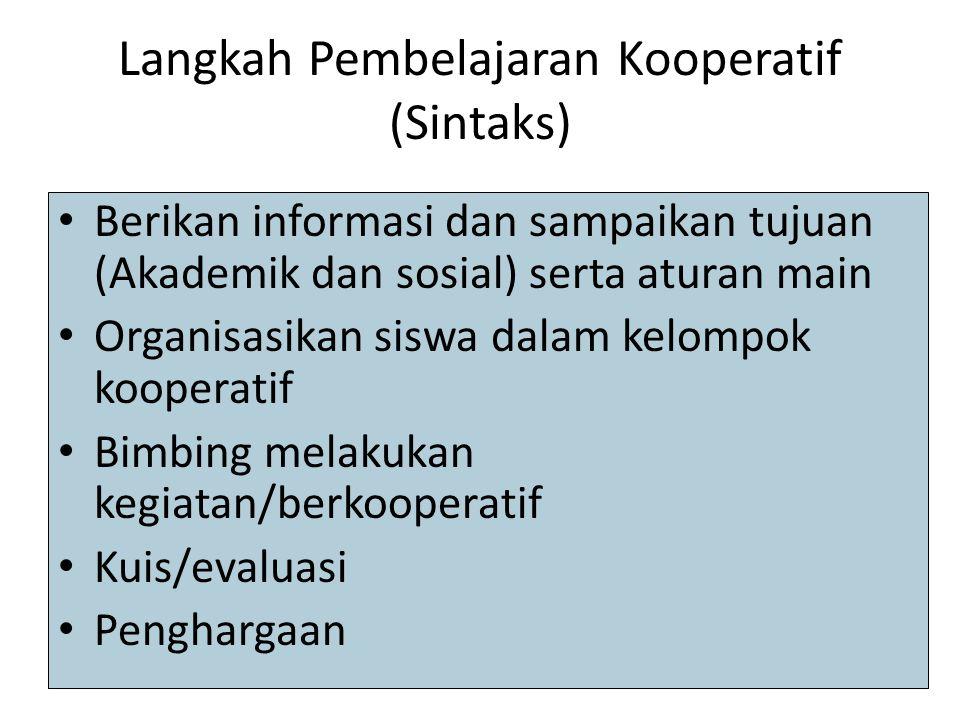 Langkah Pembelajaran Kooperatif (Sintaks)