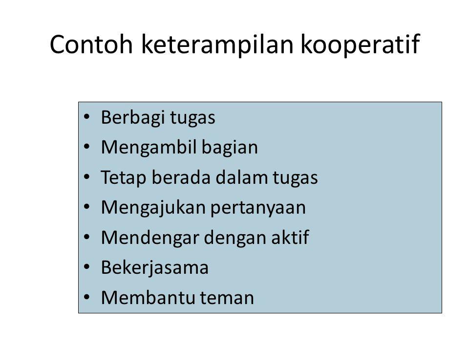 Contoh keterampilan kooperatif