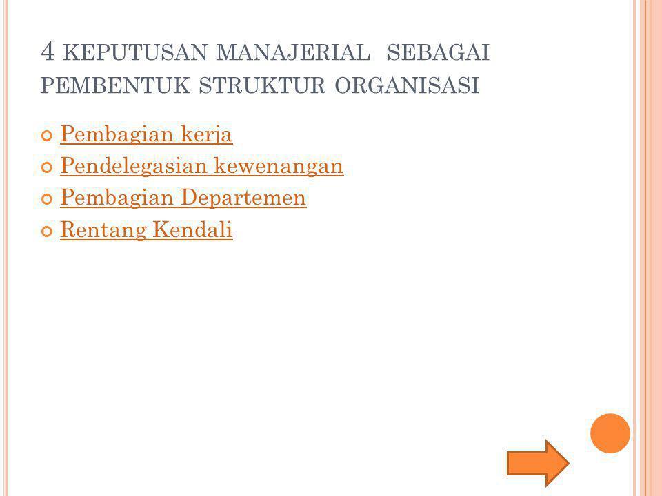 4 keputusan manajerial sebagai pembentuk struktur organisasi