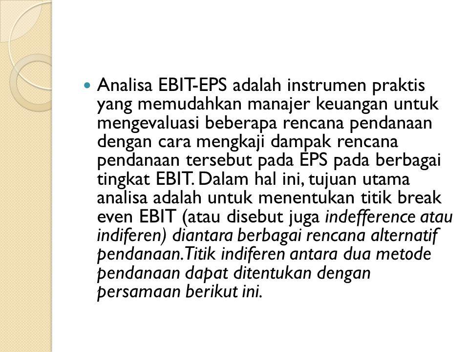 Analisa EBIT-EPS adalah instrumen praktis yang memudahkan manajer keuangan untuk mengevaluasi beberapa rencana pendanaan dengan cara mengkaji dampak rencana pendanaan tersebut pada EPS pada berbagai tingkat EBIT.