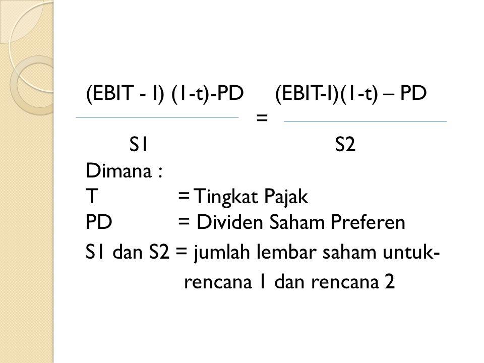 (EBIT - I) (1-t)-PD (EBIT-I)(1-t) – PD = S1 S2 Dimana : T = Tingkat Pajak PD = Dividen Saham Preferen S1 dan S2 = jumlah lembar saham untuk- rencana 1 dan rencana 2
