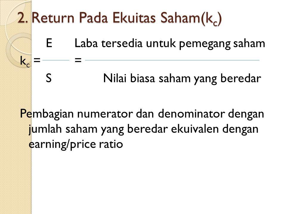 2. Return Pada Ekuitas Saham(kc)