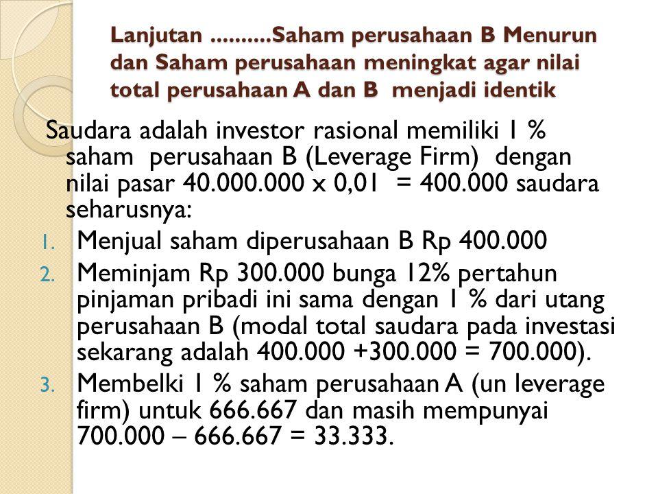 Menjual saham diperusahaan B Rp 400.000