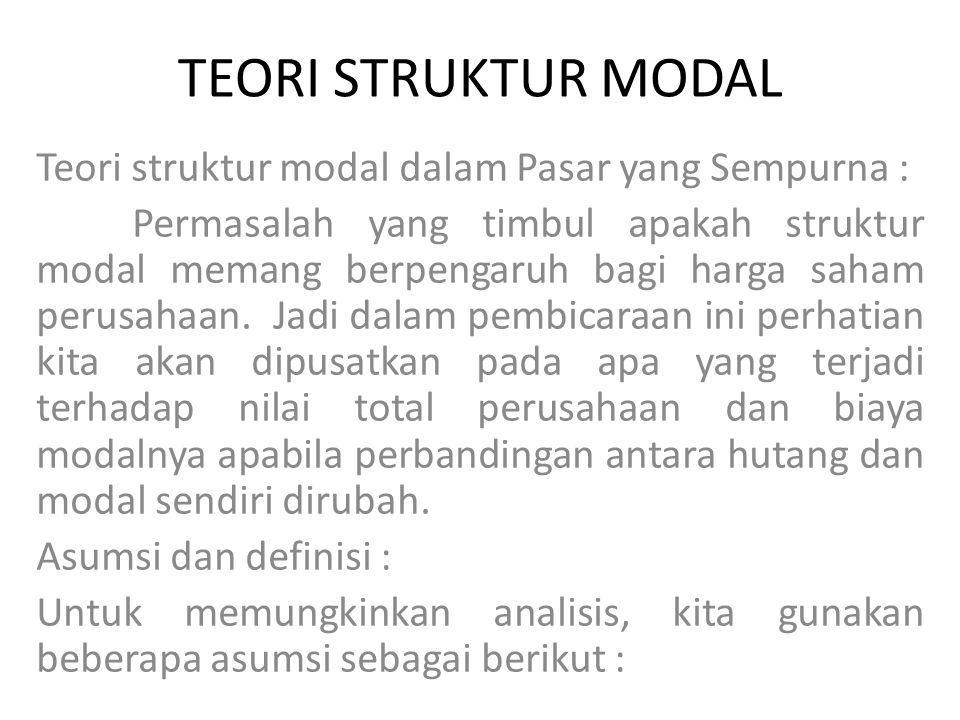 TEORI STRUKTUR MODAL Teori struktur modal dalam Pasar yang Sempurna :