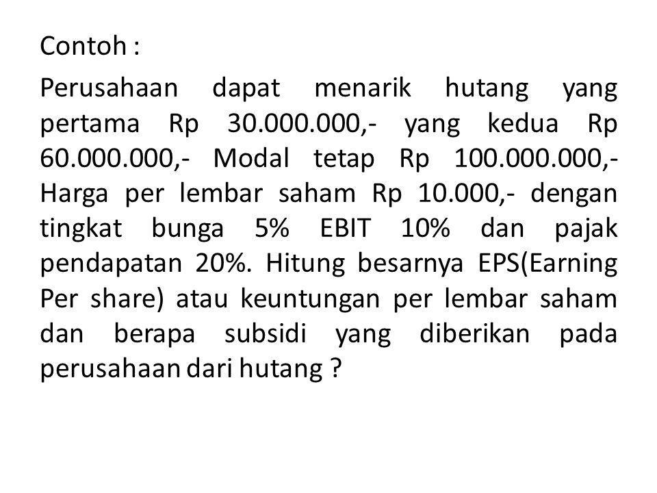 Contoh : Perusahaan dapat menarik hutang yang pertama Rp 30. 000