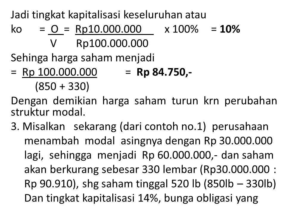 Jadi tingkat kapitalisasi keseluruhan atau ko = O = Rp10. 000