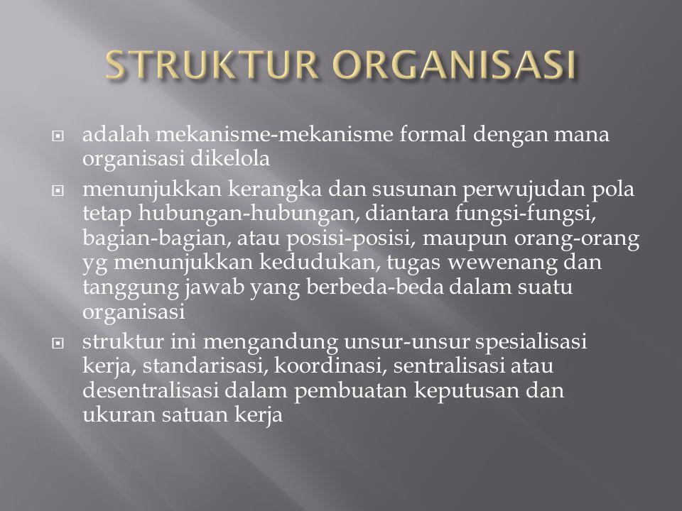 STRUKTUR ORGANISASI adalah mekanisme-mekanisme formal dengan mana organisasi dikelola.