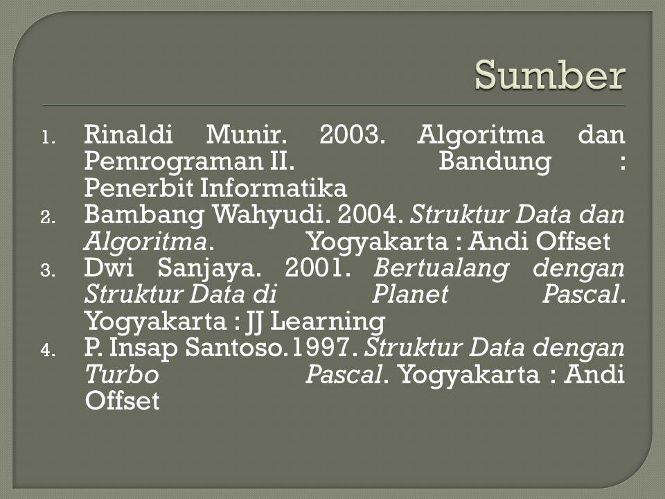 Sumber Rinaldi Munir. 2003. Algoritma dan Pemrograman II. Bandung : Penerbit Informatika.