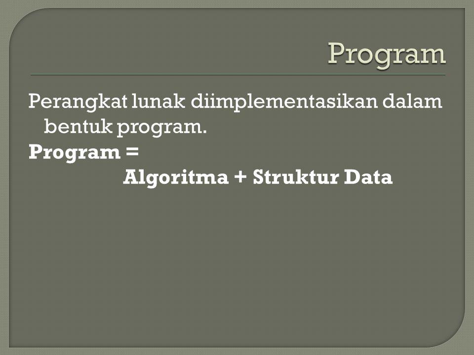 Program Perangkat lunak diimplementasikan dalam bentuk program. Program = Algoritma + Struktur Data
