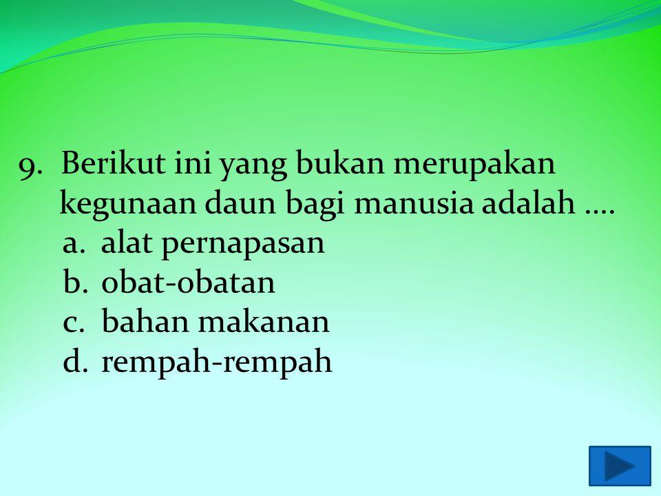9. Berikut ini yang bukan merupakan kegunaan daun bagi manusia adalah ….
