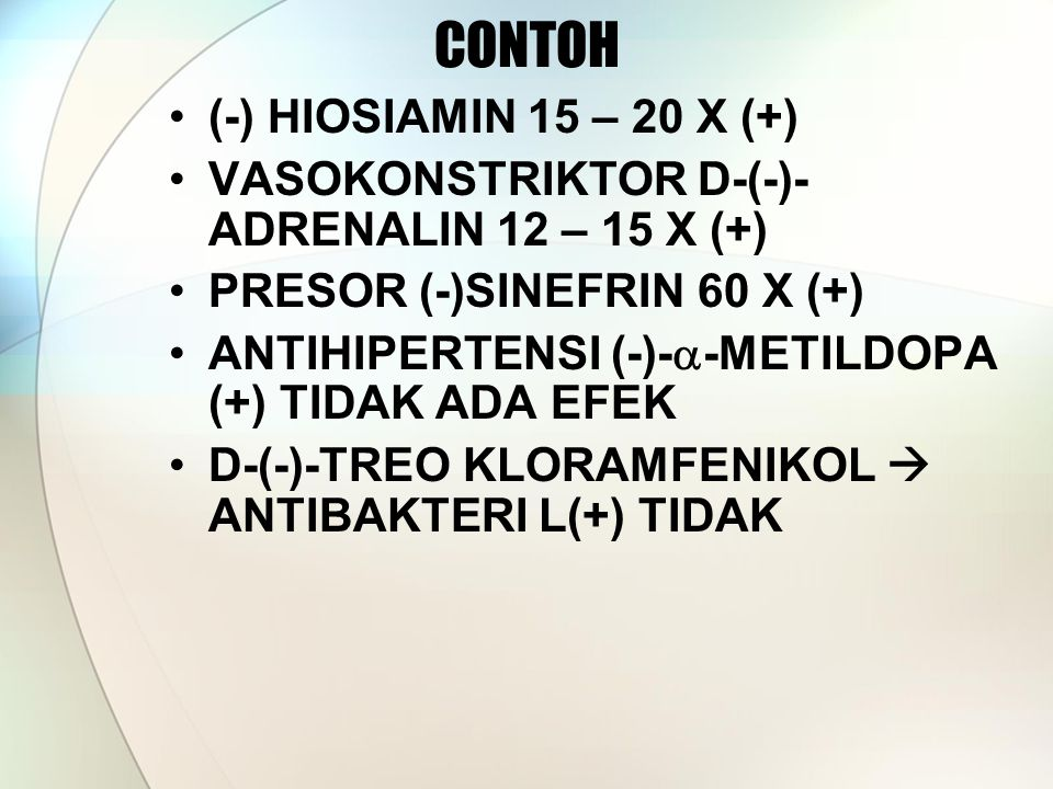 CONTOH (-) HIOSIAMIN 15 – 20 X (+)