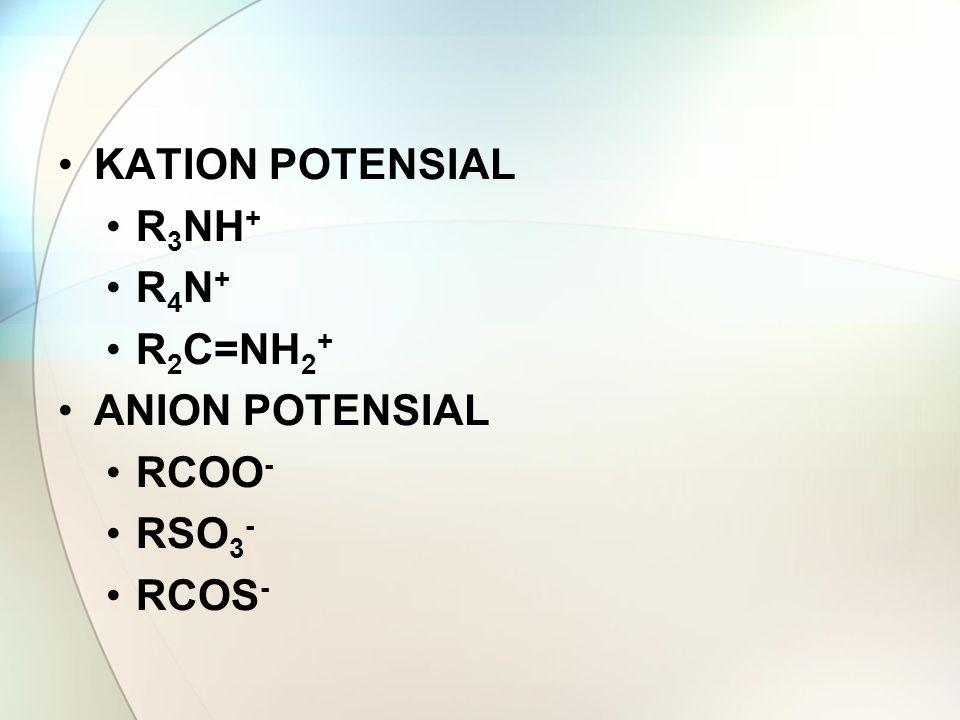 KATION POTENSIAL R3NH+ R4N+ R2C=NH2+ ANION POTENSIAL RCOO- RSO3- RCOS-