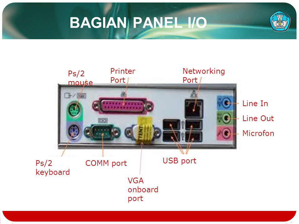 BAGIAN PANEL I/O Printer Port Networking Port Ps/2 mouse Line In