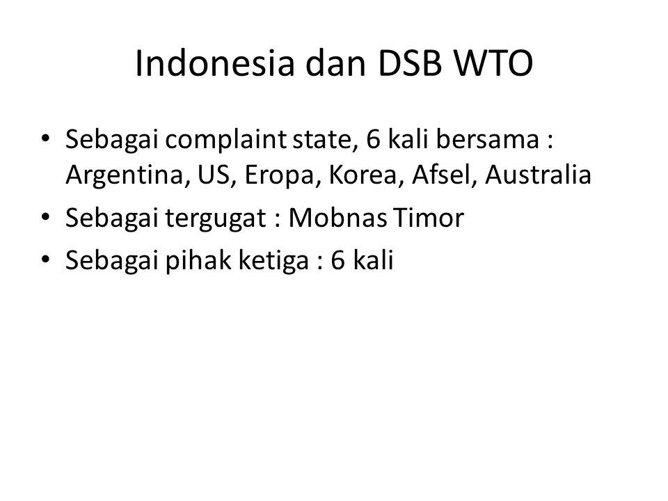 Indonesia dan DSB WTO Sebagai complaint state, 6 kali bersama : Argentina, US, Eropa, Korea, Afsel, Australia.