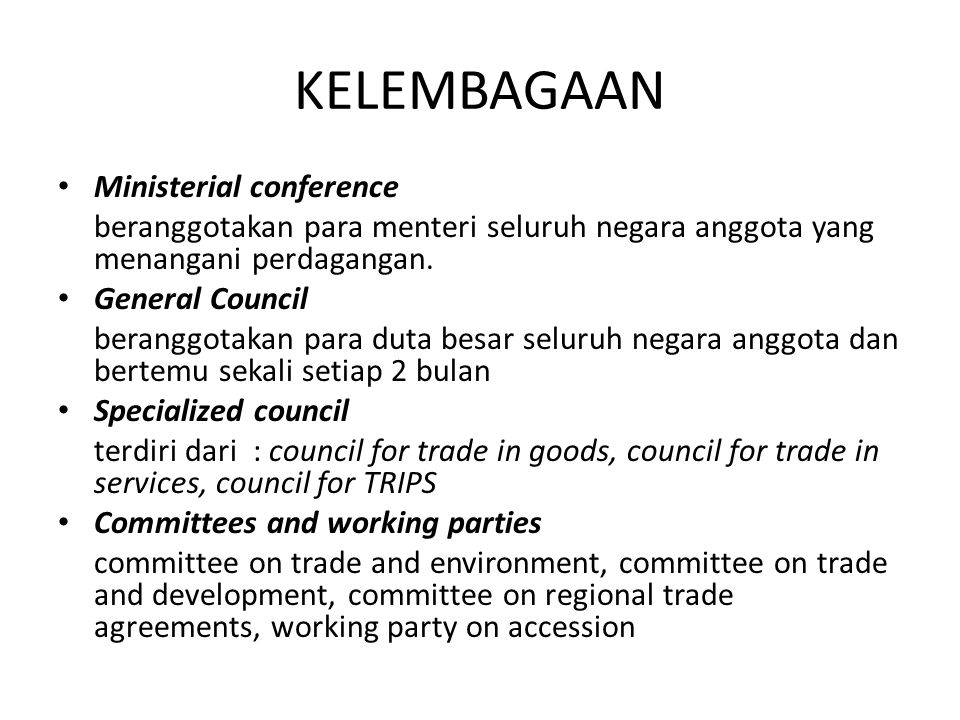 KELEMBAGAAN Ministerial conference