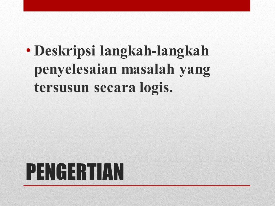 Deskripsi langkah-langkah penyelesaian masalah yang tersusun secara logis.