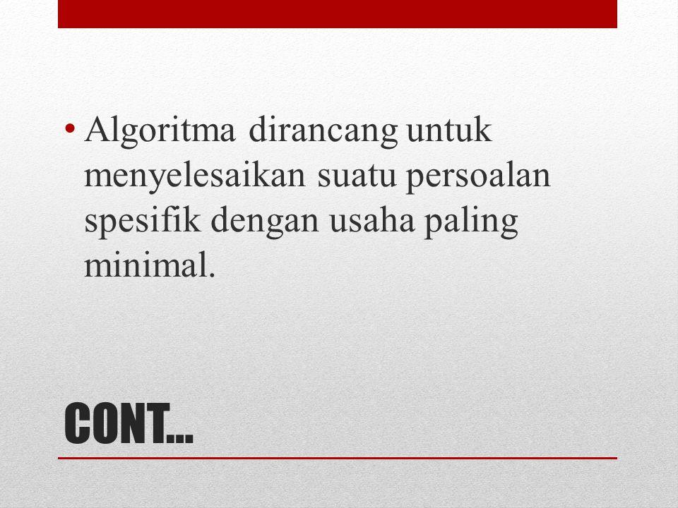 Algoritma dirancang untuk menyelesaikan suatu persoalan spesifik dengan usaha paling minimal.