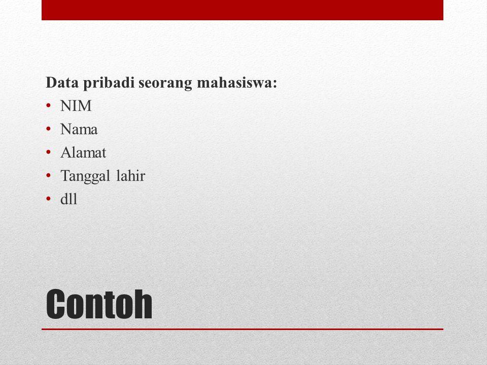 Contoh Data pribadi seorang mahasiswa: NIM Nama Alamat Tanggal lahir