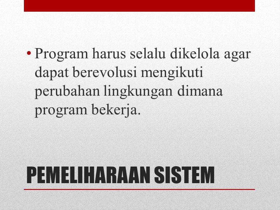 Program harus selalu dikelola agar dapat berevolusi mengikuti perubahan lingkungan dimana program bekerja.