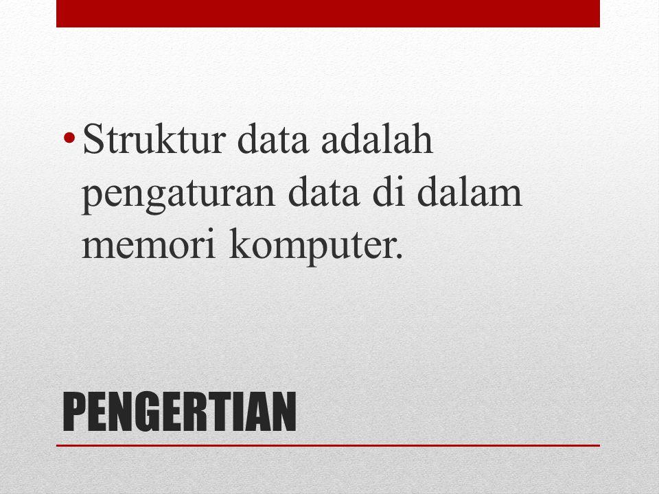 Struktur data adalah pengaturan data di dalam memori komputer.
