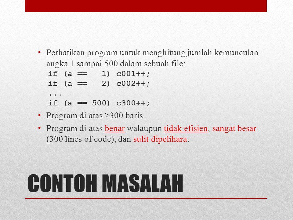 Perhatikan program untuk menghitung jumlah kemunculan angka 1 sampai 500 dalam sebuah file: