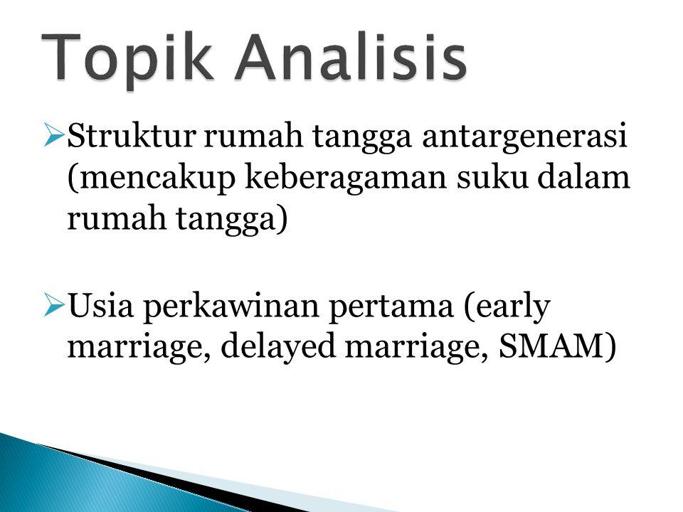 Topik Analisis Struktur rumah tangga antargenerasi (mencakup keberagaman suku dalam rumah tangga)