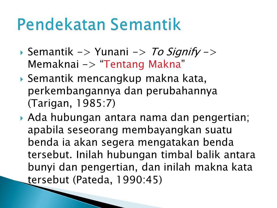 Pendekatan Semantik Semantik -> Yunani -> To Signify -> Memaknai -> Tentang Makna