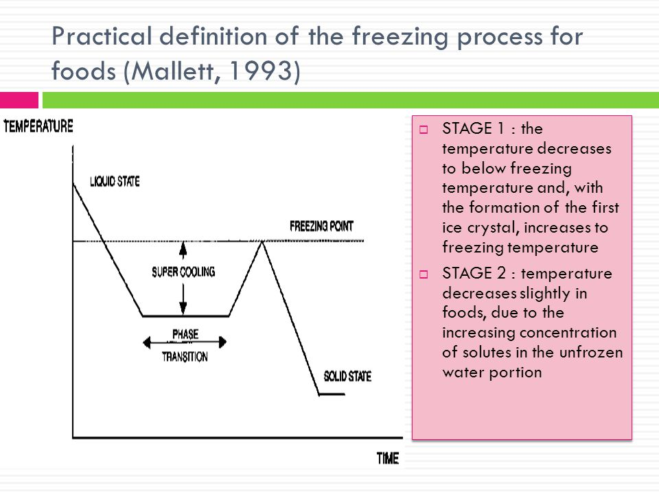 Practical definition of the freezing process for foods (Mallett, 1993)