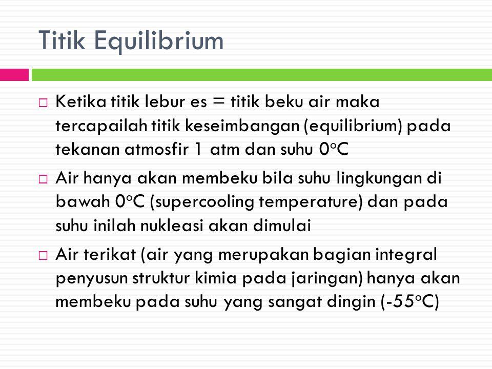 Titik Equilibrium Ketika titik lebur es = titik beku air maka tercapailah titik keseimbangan (equilibrium) pada tekanan atmosfir 1 atm dan suhu 0oC.