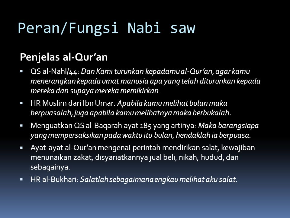 Peran/Fungsi Nabi saw Penjelas al-Qur'an