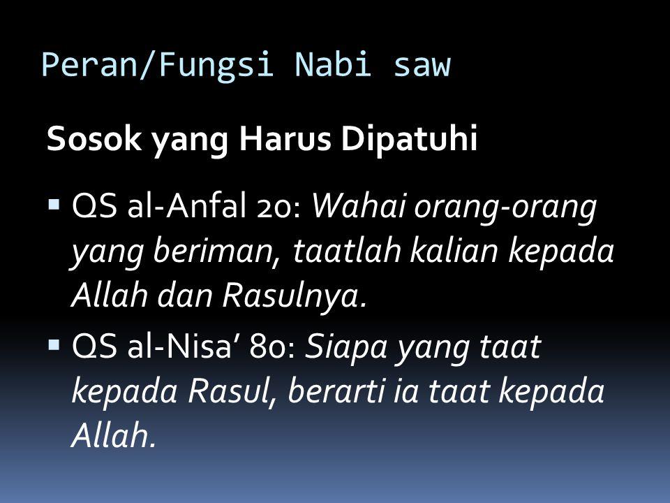 Peran/Fungsi Nabi saw Sosok yang Harus Dipatuhi. QS al-Anfal 20: Wahai orang-orang yang beriman, taatlah kalian kepada Allah dan Rasulnya.
