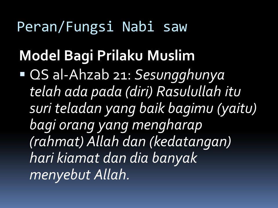 Peran/Fungsi Nabi saw Model Bagi Prilaku Muslim.