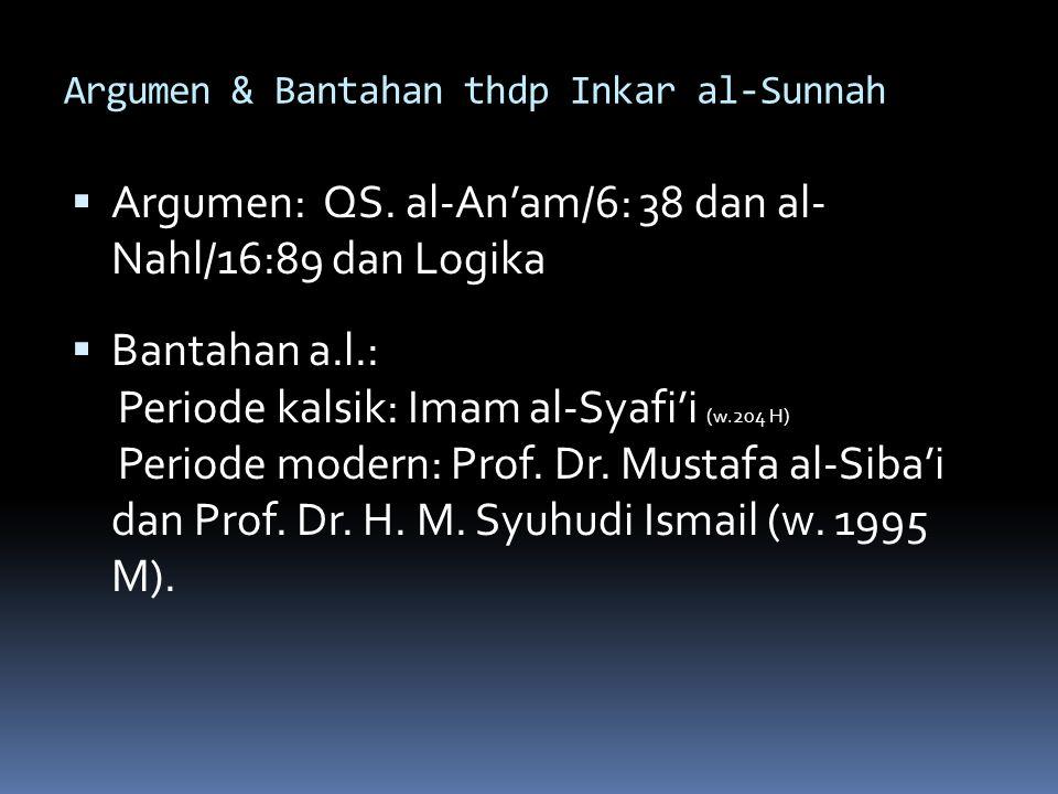 Argumen & Bantahan thdp Inkar al-Sunnah