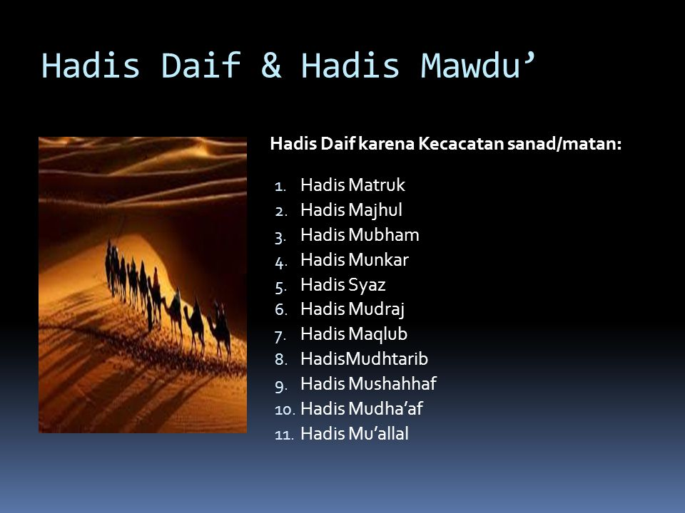 Hadis Daif & Hadis Mawdu'