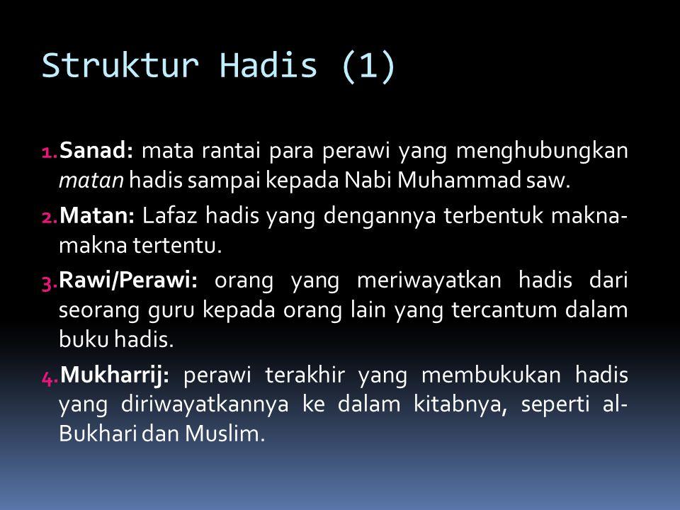 Struktur Hadis (1) Sanad: mata rantai para perawi yang menghubungkan matan hadis sampai kepada Nabi Muhammad saw.