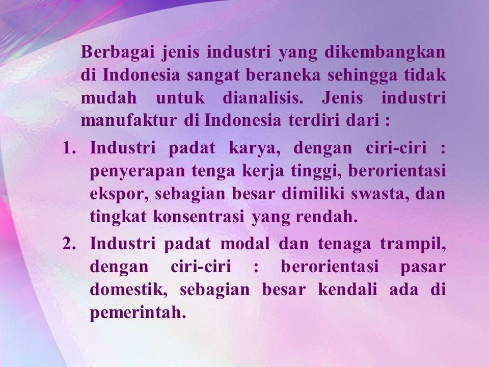 Berbagai jenis industri yang dikembangkan di Indonesia sangat beraneka sehingga tidak mudah untuk dianalisis. Jenis industri manufaktur di Indonesia terdiri dari :